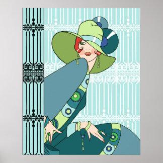 Shelby, Madame des années 1920 en Aqua et Teal Poster
