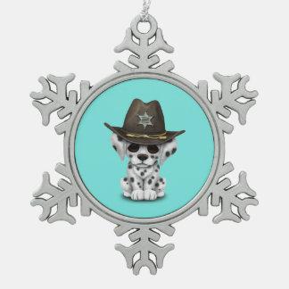 Shérif dalmatien mignon de chiot ornement flocon de neige pewter