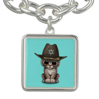 Shérif mignon de chaton bracelet avec breloques