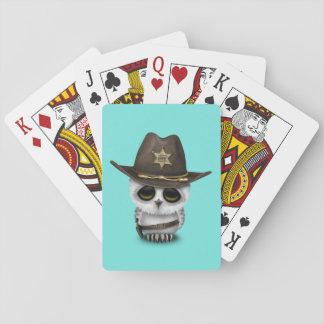 Shérif mignon de hibou de bébé cartes à jouer