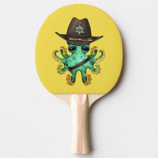 Shérif vert mignon de poulpe de bébé raquette de ping pong