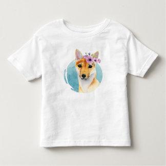 Shiba Inu avec la peinture d'aquarelle de couronne T-shirt Pour Les Tous Petits