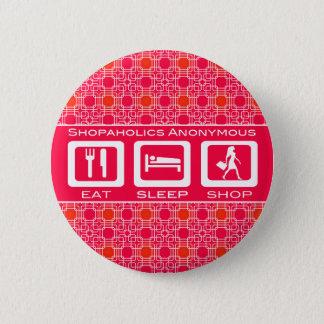 Shopaholic drôle rose mangent la récompense de badges