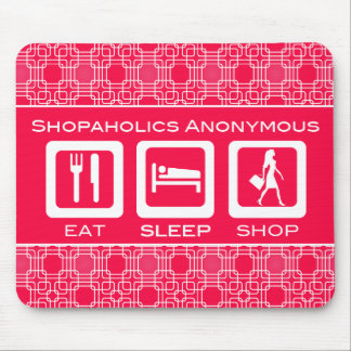 Shopaholic drôle rose mangent la récompense de tapis de souris