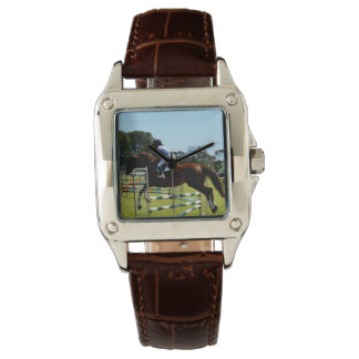 Show_Jumping_Horse_Square_Brown_Leather_Watch Montres Bracelet