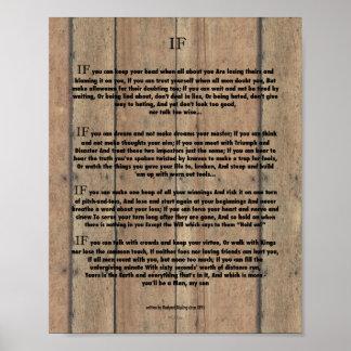 SI citation par Rudyard Kipling 1895 sur le bois Posters
