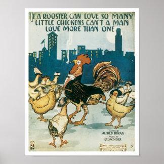 Si une couverture vintage de Songbook de coq Posters