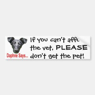 Si vous ne pouvez pas vous permettre le vétérinair autocollant pour voiture
