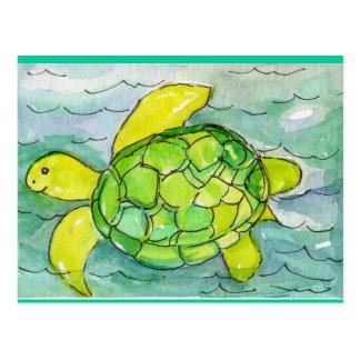 Sid l'aquarelle idiote d'original de tortue de mer cartes postales