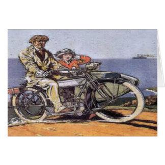 Sidecar vintage Mortorcycle Carte De Vœux
