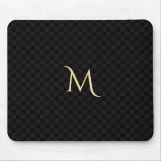 Siège social de monogramme de noir de motif fait tapis de souris