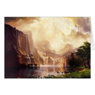 Sierra art de cerfs communs de cru de montagnes cartes de vœux