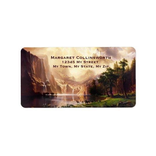 Sierra montagnes de cerfs communs 1868 arts étiquette d'adresse