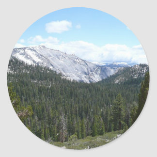 Sierra montagnes de Nevada II de Yosemite Sticker Rond