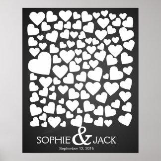 signature de coeurs de livre d'invité de mariage posters