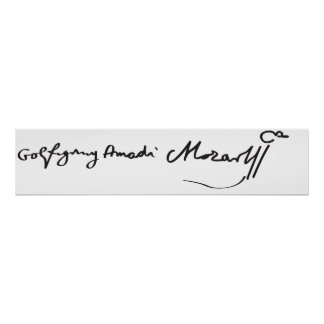 Signature de musicien Wolfgang Amadeus Mozart Affiches