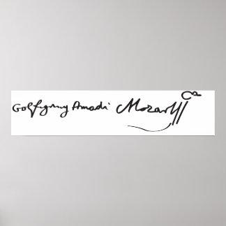 Signature de musicien Wolfgang Amadeus Mozart Posters