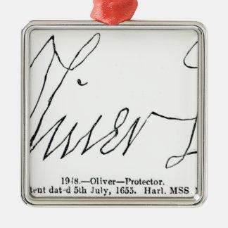 Signature de seigneur Protector d'Oliver Cromwell Ornement Carré Argenté