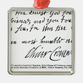 Signature Oliver Cromwell, de manuscrit Ornement Carré Argenté