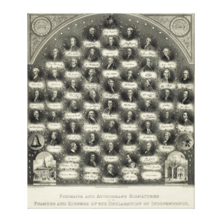 Signatures de portraits de déclaration d'indépenda toiles tendues sur châssis