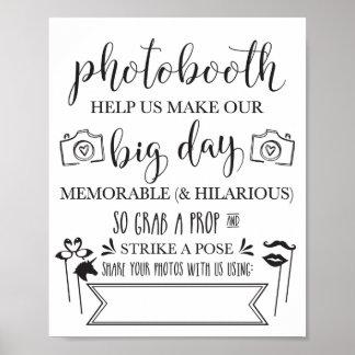 Signe 8x10 de noce de Photobooth Hashtag Poster