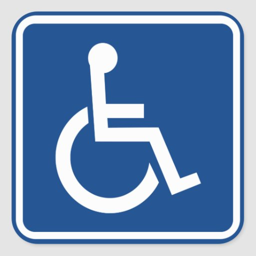 Signe accessible handicapé de fauteuil roulant autocollants carrés
