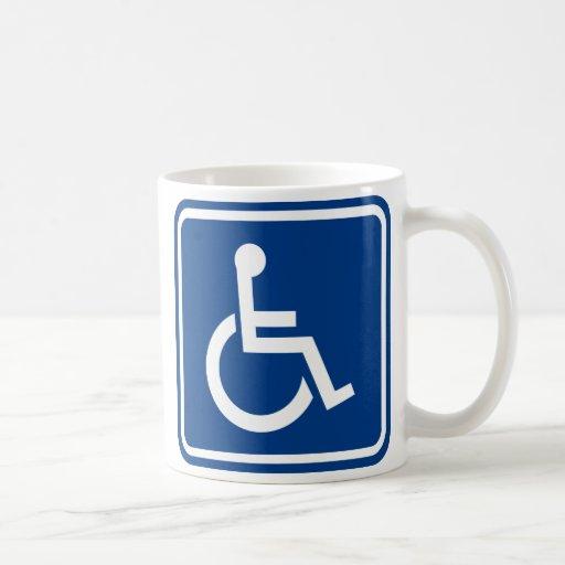 Signe accessible handicapé de fauteuil roulant mug blanc