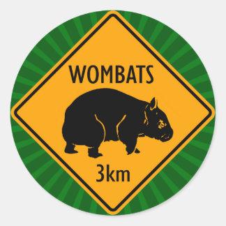 Signe australien de wombats (paquet de 6/20) sticker rond