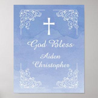 Signe bienvenu bleu de baptême ou de communion posters