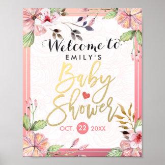 Signe bienvenu de baby shower floral élégant posters
