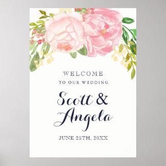 Signe bienvenu de belle pivoine rose (20x28) poster
