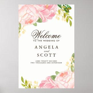Signe bienvenu de belle pivoine rose (24x36) poster