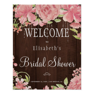 Signe bienvenu de douche nuptiale chic florale de poster