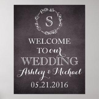 Signe bienvenu de mariage de date de nom de marié posters