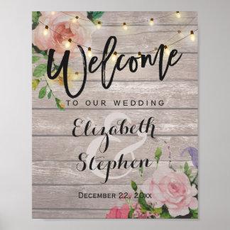 Signe bienvenu de mariage de lumières florales en posters
