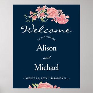 Signe bienvenu de mariage élégant floral rose de poster