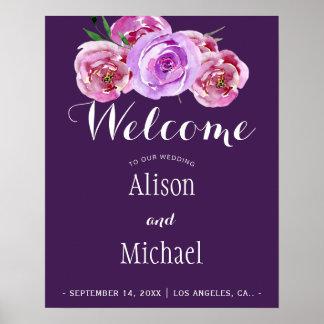 Signe bienvenu de mariage élégant floral violet de poster
