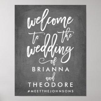 Signe bienvenu de mariage en lettres chic de main posters