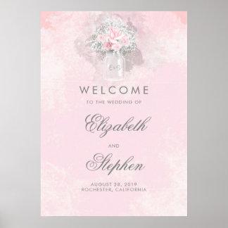 Signe bienvenu de mariage floral du souffle du poster