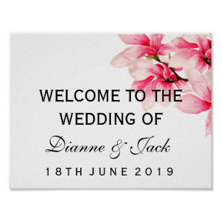 Signe bienvenu de mariage floral rose romantique affiches
