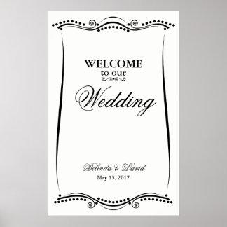 Signe bienvenu fleuri élégant noir et blanc poster