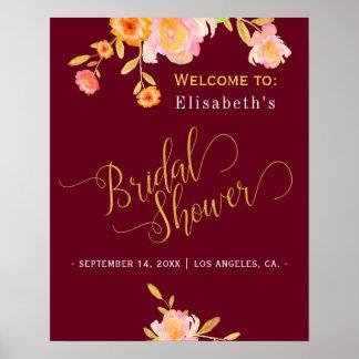 Signe bienvenu floral de chute nuptiale de douche poster