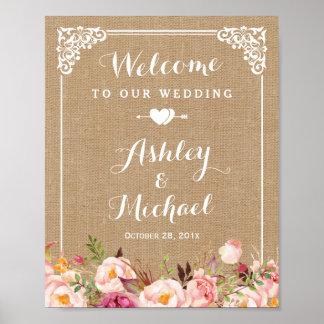 Signe bienvenu floral de mariage de toile de jute poster