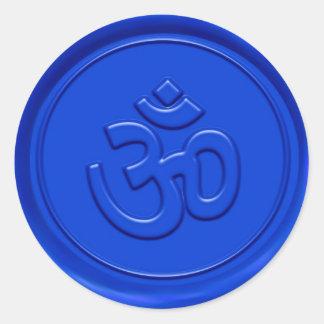 Signe bleu de relief de l'OM Sticker Rond