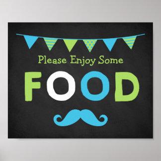 Signe bleu et vert de nourriture de tableau de