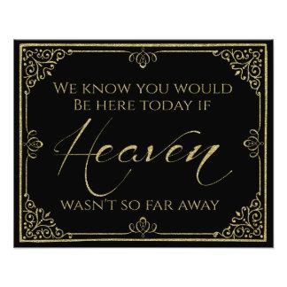 signe commémoratif de mariage de Black Heaven d'or Impression Photo