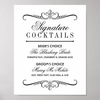 Signe | d'affiche de cocktails de signature noir poster