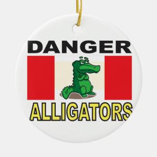 signe d'alligator de bande dessinée ornement rond en céramique