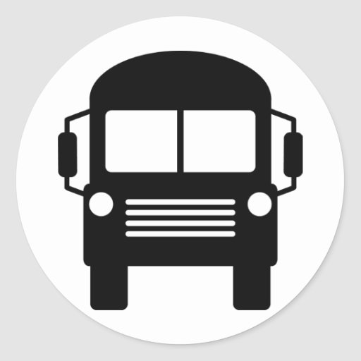signe d'autobus scolaire adhésif rond