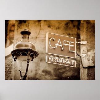 Signe de café de sépia, Paris, France Poster